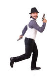 Man with gun isolated. On the white Royalty Free Stock Photography