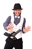 Man with gun isolated. On the white Stock Photo