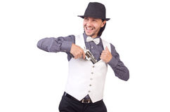 Man with gun isolated Stock Photos