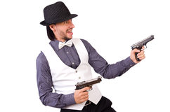 Man with gun isolated Royalty Free Stock Photo