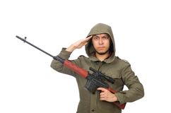 Man with a gun isolated on white Stock Photos