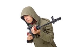 Man with a gun isolated on white Royalty Free Stock Image