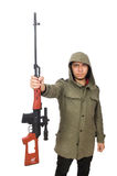 Man with a gun isolated on white Royalty Free Stock Photo