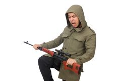 Man with a gun isolated on white Stock Photo