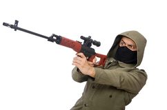 Man with a gun isolated on white Royalty Free Stock Photos