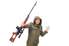Man with a gun isolated on white Royalty Free Stock Photography