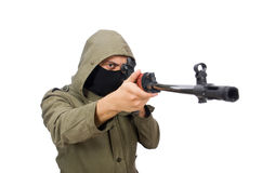 Man with a gun isolated on the white Royalty Free Stock Images