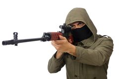 Man with a gun isolated on the white Royalty Free Stock Photo