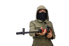 Man with a gun isolated on white Stock Images