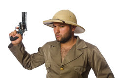 The man with gun isolated on white Stock Images