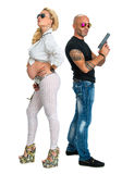 Man with a gun and pregnant woman Royalty Free Stock Photo