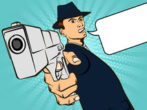 Man with a gun. Retro style pop art. Vector illustration Stock Photo