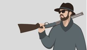 Man with a gun vector illustration flat style profile royalty free illustration