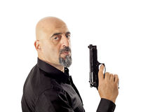 The man with gun on white Stock Photography
