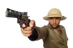 The man with gun on white Stock Photos