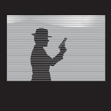Man with a gun in window Royalty Free Stock Photo