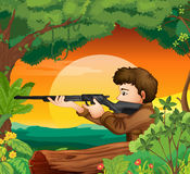 A man with a gun at the woods. Illustration of a man with a gun at the woods Stock Image