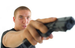 Man with the gun Royalty Free Stock Photo