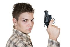 Man and gun. Young man with gun isolated on white Royalty Free Stock Photo