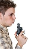 Man and gun. Young man with gun isolated on white Royalty Free Stock Photos