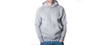 Man, guy in Blank grey hoodie, sweatshirt, mock up isolated. Pla. Man, guy in Blank grey hoodie, mock up isolated. Plain hoody design presentation Stock Photography