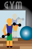 Man in Gym. Man working out in a gym Stock Photo