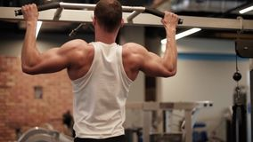 Man on the gym. Man doing chin ups at gym stock video footage