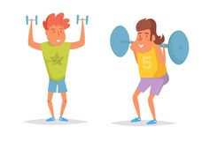 Man in the gym. Dumbbells, rod Vector. Cartoon. Isolated art on white background. vector illustration