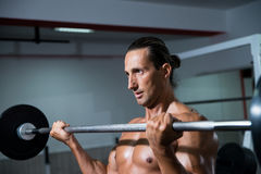 Man In The Gym Exercising Biceps With Barbell Royalty Free Stock Images