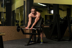 Man In The Gym Exercising Biceps With Barbell Royalty Free Stock Image