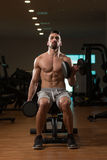 Man In The Gym Exercising Biceps With Dumbbell Stock Photo