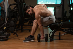Man In The Gym Exercising Biceps With Dumbbell Stock Photography