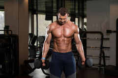 Man In The Gym Exercising Biceps With Dumbbells Stock Photography