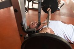 Man Doing Bench Press Exercise For Chest Royalty Free Stock Photography