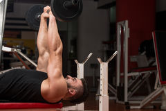 Man In The Gym Exercising Triceps With Barbell Royalty Free Stock Photography