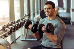 Man in gym Royalty Free Stock Image