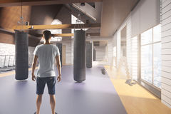 Man in gym interior Stock Image
