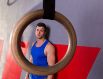 Man gym ring view relaxed after gym workout Royalty Free Stock Images