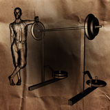 Man in gym room radiography painted Stock Image
