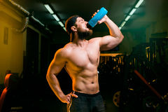 Man in the gym with shaker Stock Images