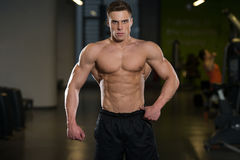 Man In Gym Showing His Well Trained Body Stock Photography