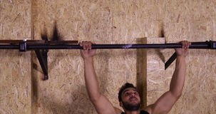 Man In Gym Sport Exercising Guy Pulling At Horizontal Bar Crossfit Training, Sportsman Working Out. Slow Motion 60 Fps stock video