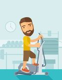 Man in gym sport workout exercises. A happy caucasian in gym sport workout exercises. Contemporary style with pastel palette, soft blue tinted background. Vector royalty free illustration