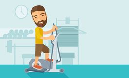 Man in gym sport workout exercises. A happy caucasian in gym sport workout exercises. Contemporary style with pastel palette, soft blue tinted background. Vector stock illustration