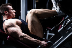 Man in gym training at leg press Royalty Free Stock Photography