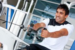 Man at the gym - weights Stock Image