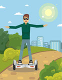 Man on gyroscooter. Funny man on gyroscooter outdoors, cartoon royalty free illustration