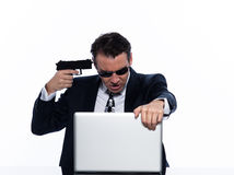 Man hacker computing white collar crime Royalty Free Stock Image