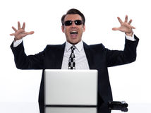 Man hacker computing white collar crime Stock Photos