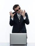 Man hacker computing white collar crime Stock Image